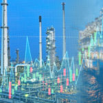 Stock graph investment concept with offshore rig and oil refinery plant. Double exposure.