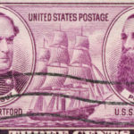 """Cancelled Stamp From The United States Featuring Two American Naval Officers, David Farragut And David Dixon Porter.  Farragut Lived From 1801 Until 1870 And Was An Admiral On The U.S.S. Hartford.  Porter Lived From 1813 Until 1891 And Was Admiral On The U.S.S. Powhatan."""